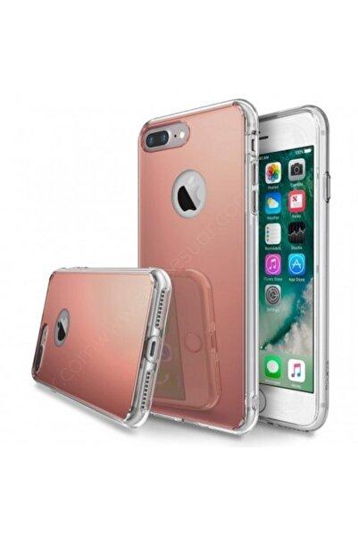 Guesche Apple Iphone 7 Plus Aynalı Renkli Tam Korumalı Kılıf Arka Kapak Rose Gold