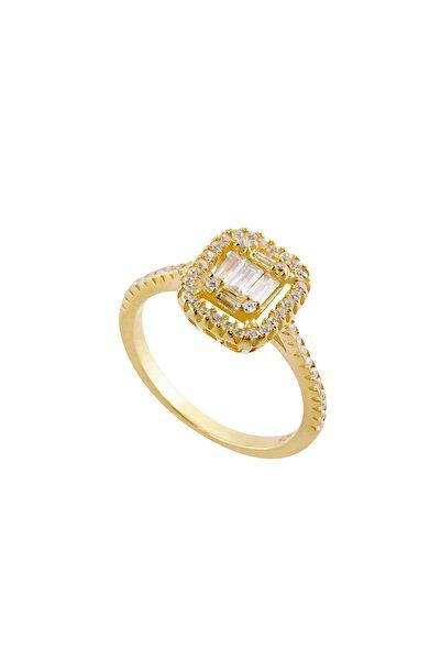 Afrodit Silver Baget Taşlı Gold Gümüş Yüzük