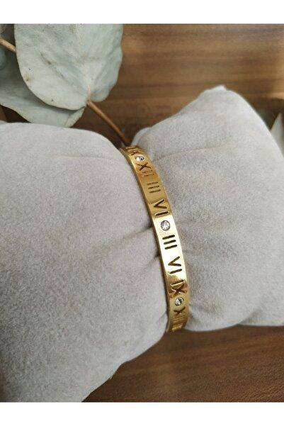 Mammamia Kadın Gold Roma Rakamlı Çelik Kelepçe Bileklik 6 mm