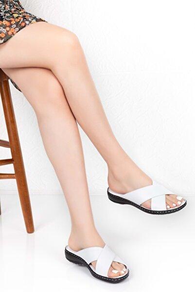 Gondol Kadın Beyaz Deri Ortopedik Taban Terlik Iz.023