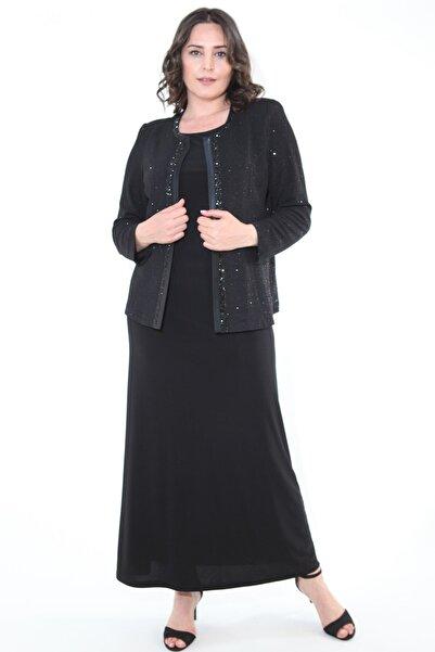 Ladies First Kadın Siyah Büyük Beden 3306 Uzun Abiye Elbise