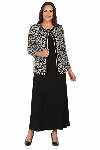 Ladies First Kadın Siyah Büyük Beden 2933  Elbiseli Takım