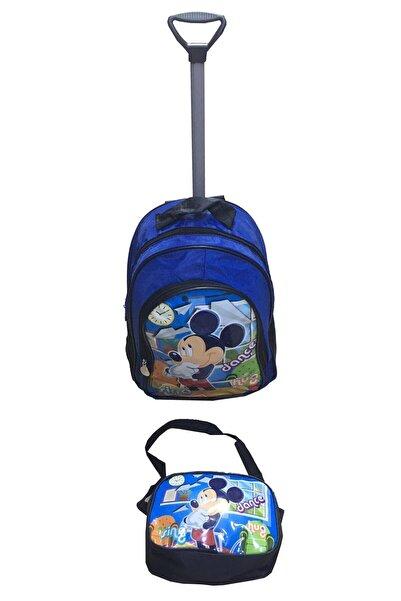 Cebiks Mickey Mouse Çekçekli Okul Çantası Ve Beslenme Çanta Seti