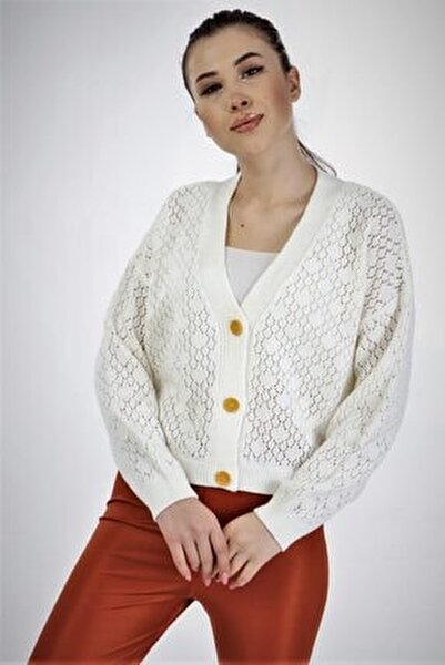 Kadın Beyaz Triko Hırka Hk1126
