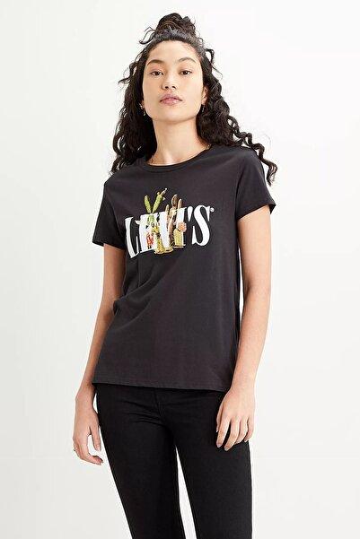 Levi's Kadın Siyah Pamuklu Baskılı Regular Fit Bisiklet Yaka  T-Shirt