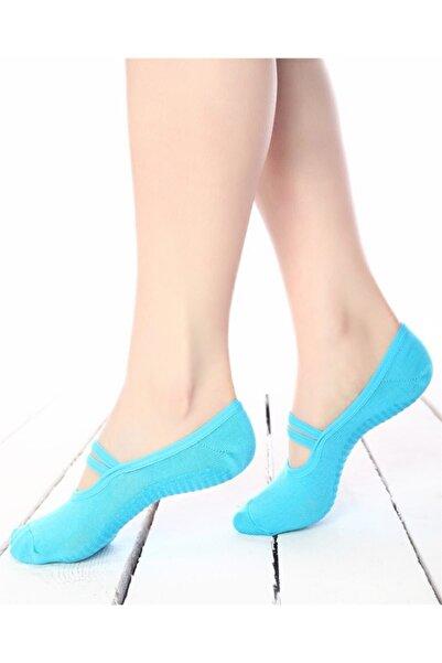 Ebru Şallı Turkuaz Silikon Tabanlı Pilates / Yoga Çorabı