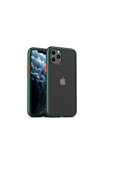 """zore Apple Iphone 11 Pro Max (6.5"""") Kılıf Hom Silikon Kenarlı Arkası Cam Kapak (yeşil)"""