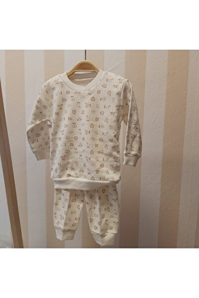 nazar baby Unisex Bebek Pijama Takımı Bej