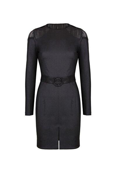 CEREN OCAK Kadın Siyah Sırt Detaylı Elbise