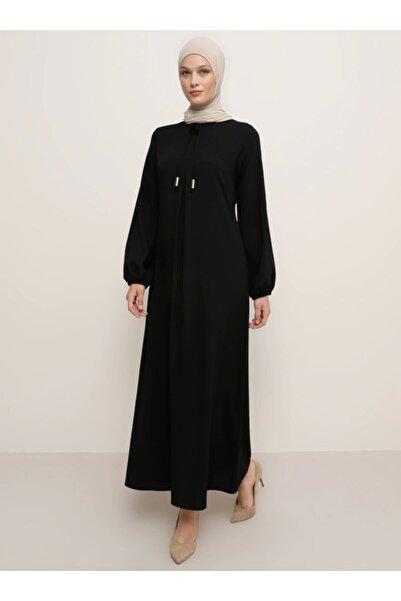 Tavin Kadın Siyah A Pile Fiyonk Yaka Detaylı Elbise 1525114