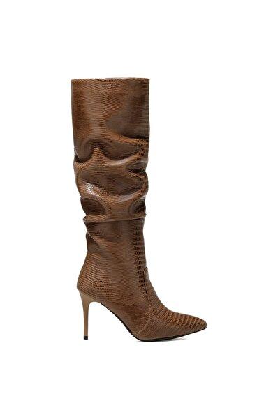 Nine West Kadın Vizon Sısso Vizon Ökçeli Topuklu Çizme