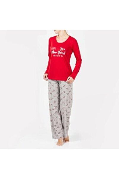 Katia&Bony Kadın Kırmızı Pijama Takımı Happy Santa