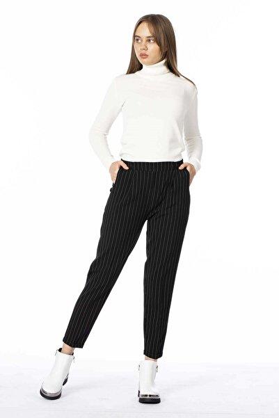 BARRELS AND OIL Kadın Siyah Çizgili Double Paça Pantolon