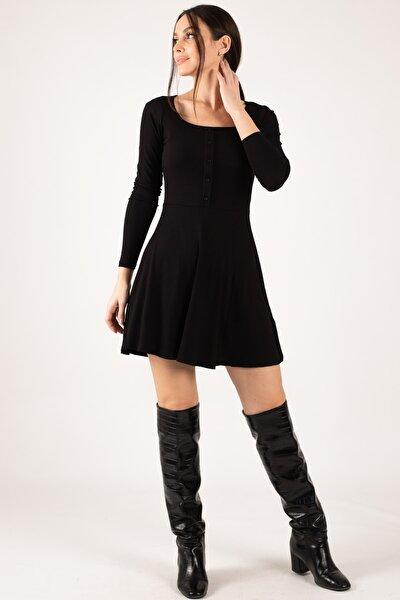 armonika Kadın Siyah Önü Düğmeli Fitilli Kloş Elbise ARM-21K042015