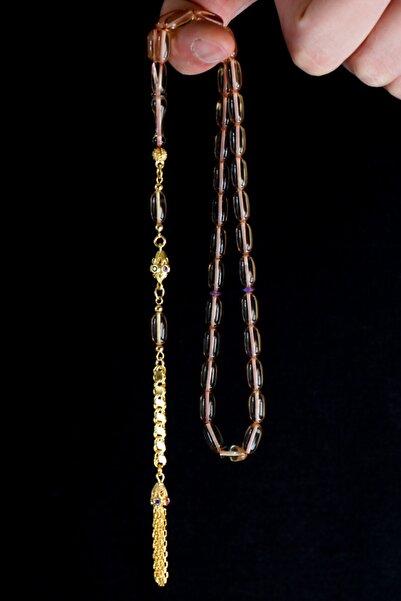 Tesbih Otağı Altın Kaplama Gümüş Püsküllü Ateş Kehribar Tesbih
