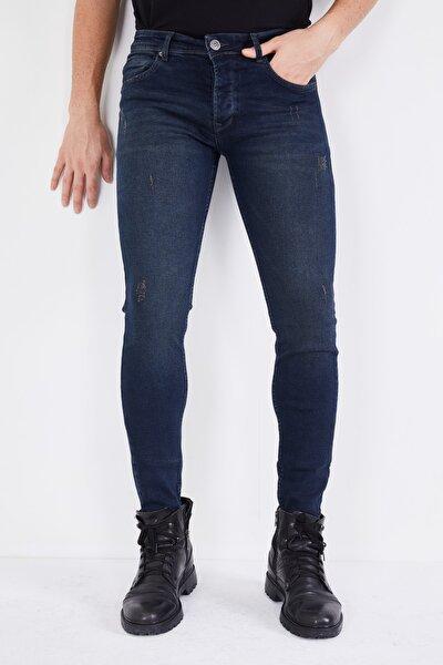 DİFRANSEL Erkek Koyu Lacivert Tırnaklı Skinny Likralı Dar Paça Kot Pantolon