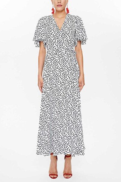 SOCIETA Kadın Beyaz Puantiyeli V Yaka Anvelop Midi Elbise 93207