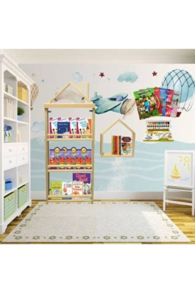Mashotrend Ahşap Monteseri Çocuk Odası Kitaplığı Boyama Kitabı ve Boyalar