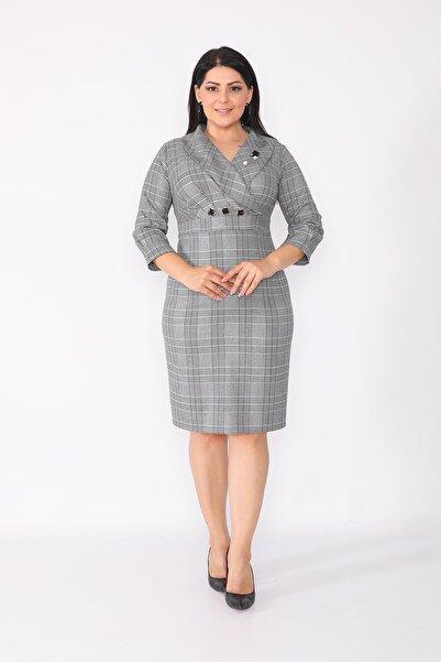etselements Kadın Gri Ekoseli Ve Yaka Kısmı Düğme Detaylı Elbise