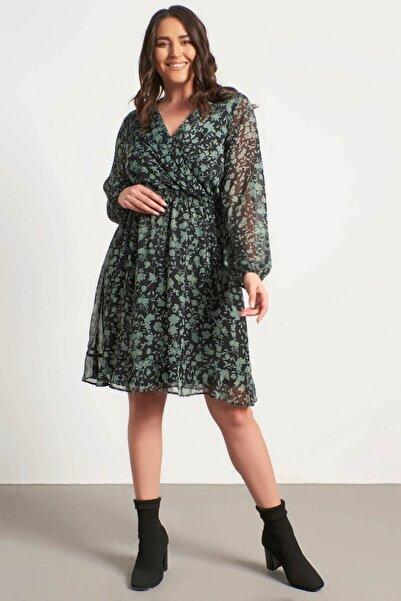 MYLİNE Kadın Anvelop Gipe Detaylı Şifon Elbise