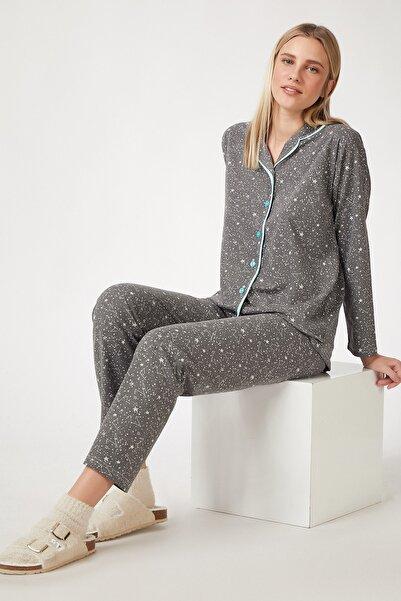 Happiness İst. Kadın Gri Desenli Pamuklu Pijama Takımı GL00036