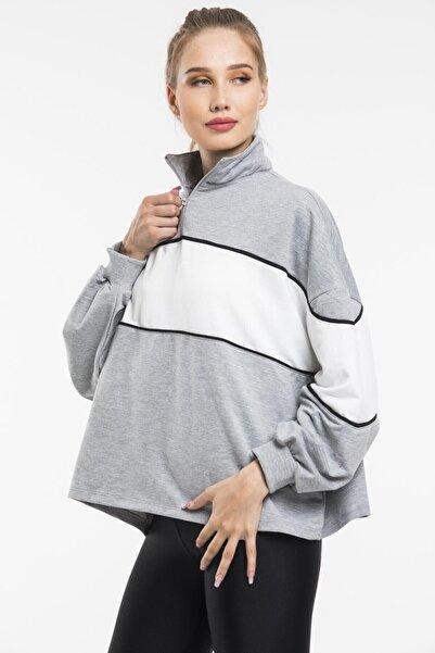 sarıbalon Şerit Detay Fermuarlı Gri Sweatshirt