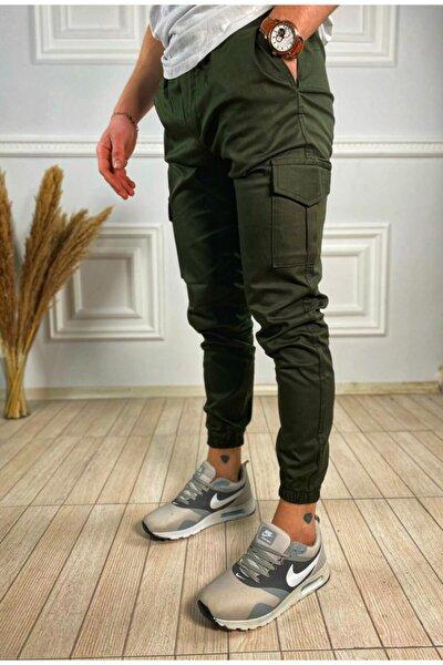 ukdwear Erkek Haki İtalyan Kesim Kargo Cep Likralı Pantolon