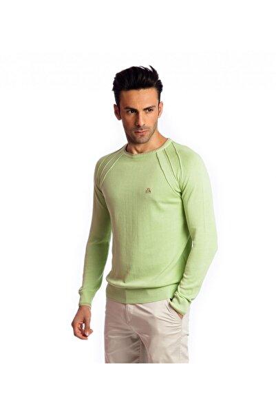Karaca Erkek Yeşil Çift Geyik Slim Fit O Yaka Pamuk Kazak