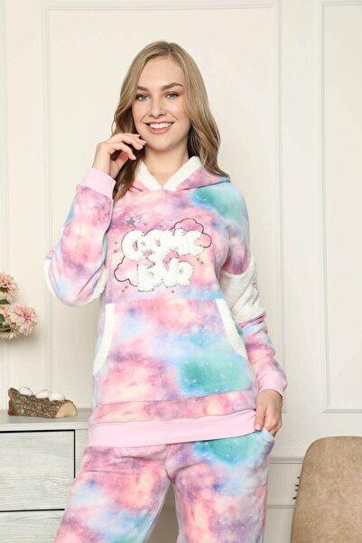 Mossta Kadın Pembe Cozmic Love Polar Kışlık Pijama Takımı