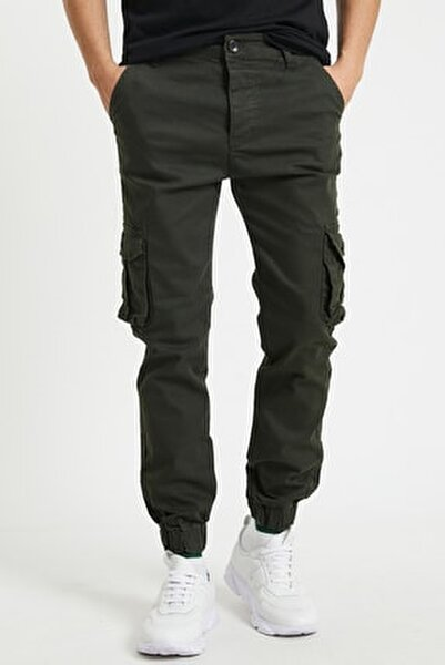Erkek Körüklü Haki Renk Jogger Paçası Lastikli Pantolon