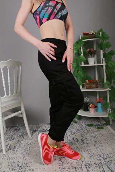 Rosa Montana Kadın Siyah Beli Lastikli Kargo Cep Detay Pantolon