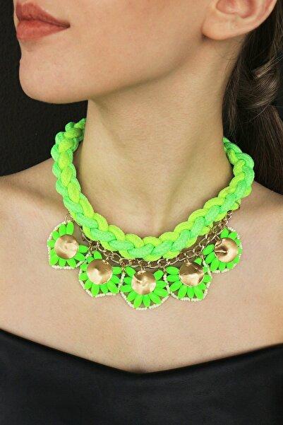 TAKIŞTIR Özel Tasarım Neon Yeşil Renk Kolye