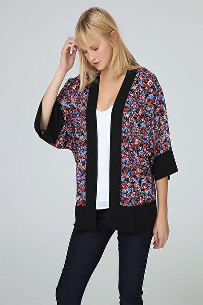 Select Moda Kadın Renkli Çiçek Desenli Kimono