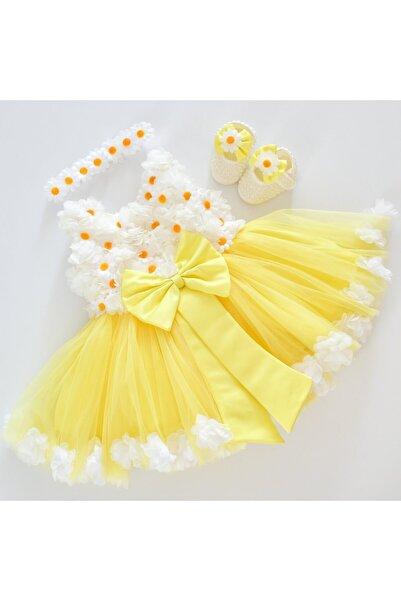 tugcedesign Kız Bebek Sarı Elbise