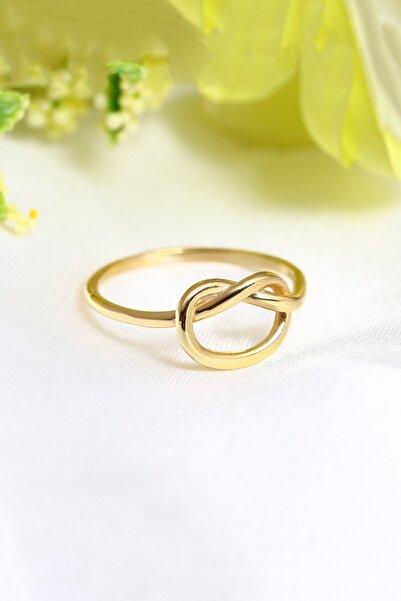 LOTUS GÜMÜŞ 14k Gold Kaplama Kalp Düğüm Ayarlanabilir Kadın Yüzük