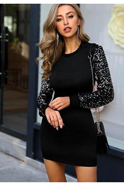 Bunu Gönder Kadın Siyah Kolları Payetli Kalem Elbise
