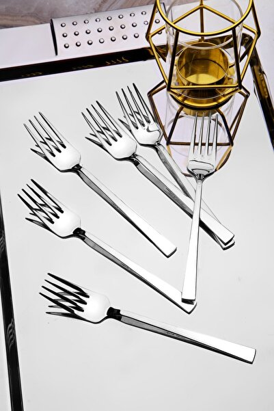 Kitchen Life 6 Adet Lüx Titanyum Gümüş Tatlı Çatal Seti