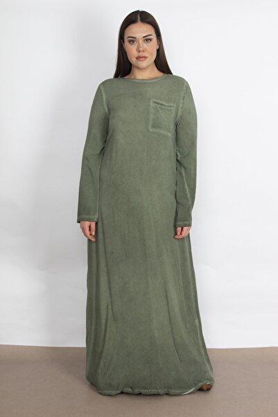 Şans Kadın Haki Cep Detaylı Astarsız Uzun Viskon Elbise 65N21220