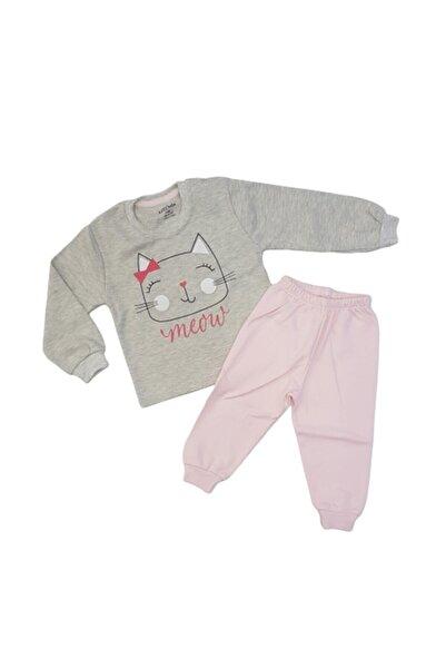 Aziz Bebe Kız Bebek Pudra Gri Pijama Takımı