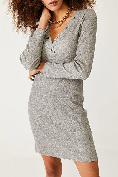 XENA Kadın Gri Çıtçıt Detaylı Elbise 1KZK6-11083-03
