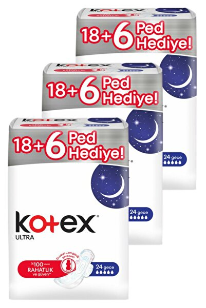 Kotex Ultra Gece24'lü X 3 = 72 Adet Ped