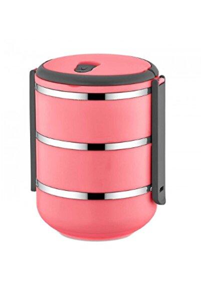 FreshBox 3 Katlı Sızdırmaz Yemek Termosu Sefer Tası Saklama Kabı Pembe 2,25 Litre