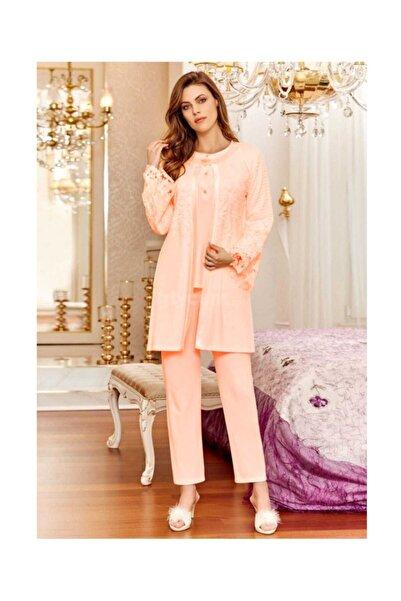 FLZ Kadın Üçlü Somon Loğusa Pijama Takımı 31237