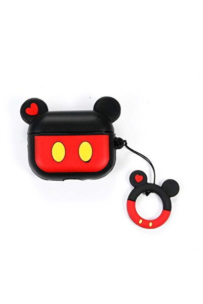 zore Silikon Mickey Mouse Askılı Korumalı Wireless Kablosuz Şarj Destekli Airpods Pro Kılıf