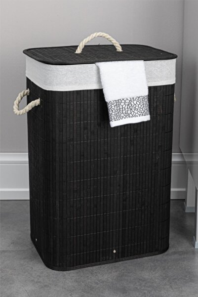 Doreline Limpia Doğal Bambu Siyah Dikdörtgen Çamaşır Sepeti