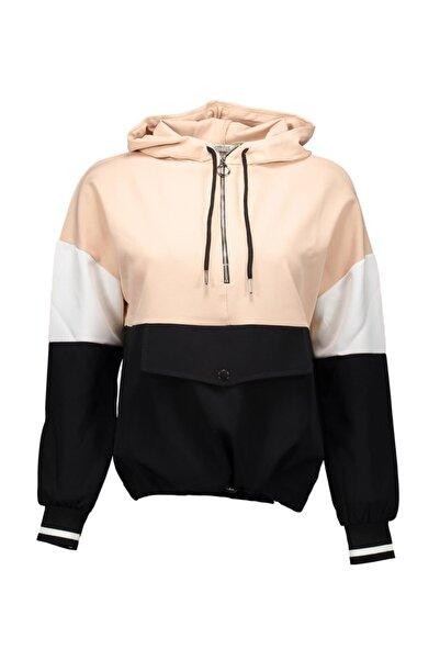Collezione Kadın Siyah Bloklu Kapüşonlu Sweatshirt