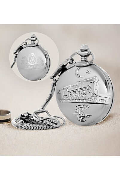 ÇILGIN Tcdd Tren Kabartmalı Silver Köstekli Cep Saati