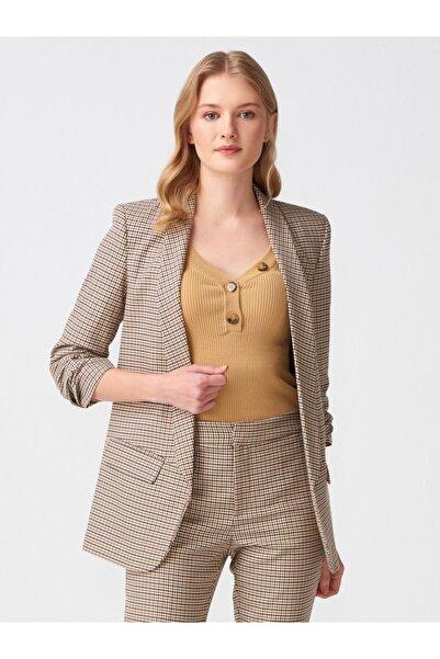 Dilvin Kadın S.Kahve Kol Büzgülü Blazer Ceket 101A06738