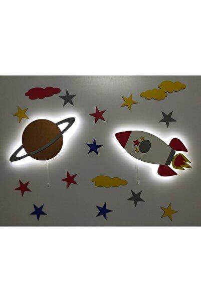 fabrikahşap Çocuk Odası Dekoratif Ahşap Gezegen Roket Gece Lambası Ledli Aydınlatma