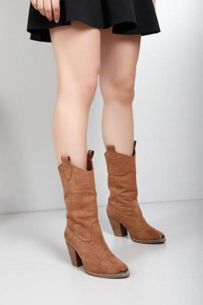 GÖNDERİ(R) Gön Taba Süet Sivri Burun Topuklu Western Kovboy Günlük Kadın Çizme 32301